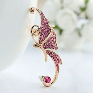 Jewelry - Pink & Gold Crystal Butterfly Left Ear Cuff